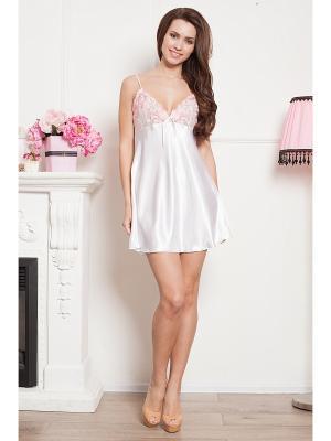 Сорочка CLEO. Цвет: белый, розовый