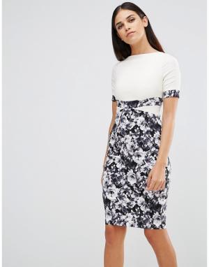 Vesper Платье-футляр с монохромным цветочным принтом на юбке. Цвет: кремовый