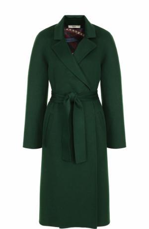 Однотонное шерстяное пальто с поясом Bally. Цвет: темно-зеленый