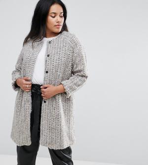 Elvi Шерстяное пальто без воротника. Цвет: кремовый