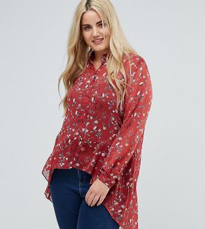 New Look Plus Рубашка с цветочным принтом и асимметричным подолом Curve. Цвет: коричневый