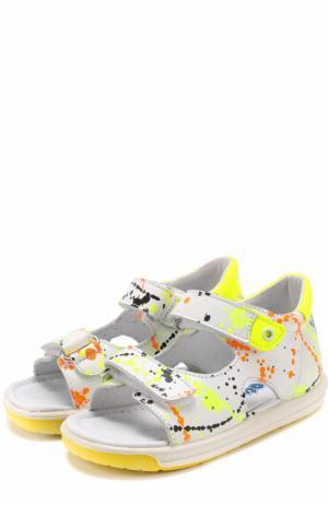 Кожаные сандалии с застежками велькро и принтом Falcotto. Цвет: разноцветный