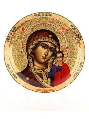 Тарелка декоративная Казанская Божья Матерь Elan Gallery. Цвет: золотистый, коричневый, красный