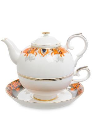 Чайный набор Риомаджоре (Riomaggiore Pavone) Pavone. Цвет: белый,оранжевый
