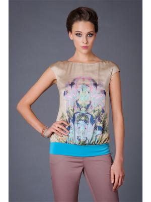 Блузка Арт-Деко. Цвет: бежевый, голубой, розовый