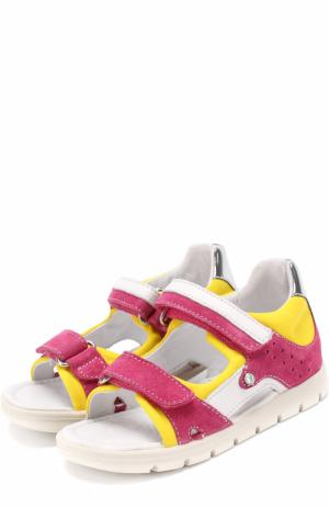 Комбинированные сандалии с застежками велькро Falcotto. Цвет: фуксия
