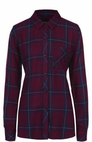 Блуза прямого кроя в клетку с накладным карманом Rails. Цвет: бордовый
