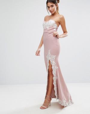 Love Triangle Платье-бандо макси с кружевной отделкой и разрезом. Цвет: розовый