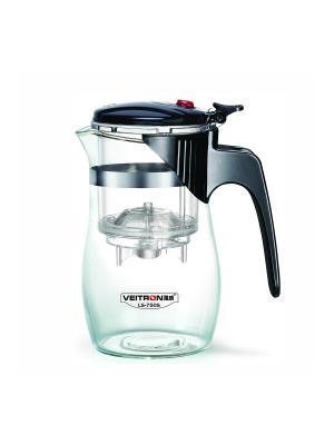 Стеклянный заварочный чайник Veitron с кнопкой, 750 мл, артикул LS-750S. Цвет: черный