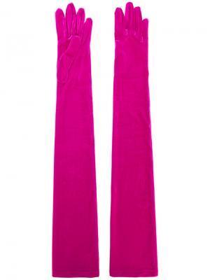 Удлиненные бархатные перчатки Balenciaga. Цвет: розовый и фиолетовый