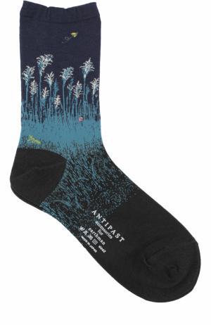 Хлопковые носки с принтом Antipast. Цвет: темно-синий