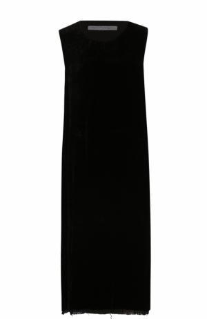 Платье-миди прямого кроя с разрезами Raquel Allegra. Цвет: черный