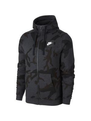 Толстовка M NSW HOODIE FZ AOP FLC CLUB Nike. Цвет: черный