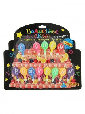 Свечи для торта А М Дизайн. Цвет: темно-фиолетовый, желтый, красный, розовый, светло-зеленый, светло-коралловый, синий, черный