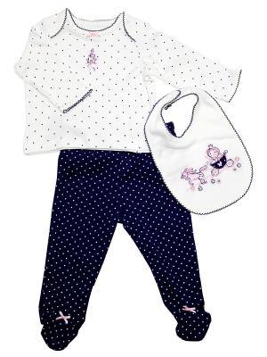 Комплект из 3-х предметов Принцесса Little Me. Цвет: белый, синий