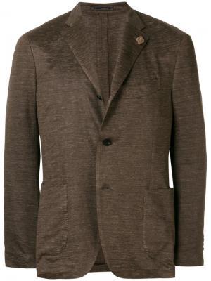 Текстурированный блейзер Lardini. Цвет: коричневый