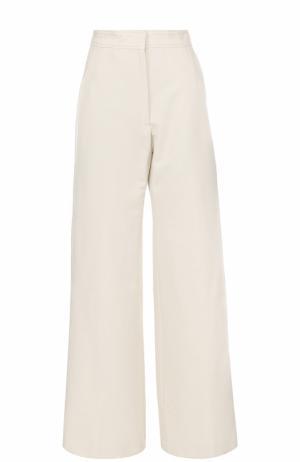Широкие брюки с завышенной талией Dries Van Noten. Цвет: кремовый