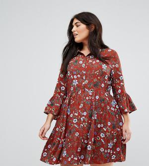Uttam Boutique Plus Короткое приталенное платье на пуговицах с цветочным принтом Bou. Цвет: красный