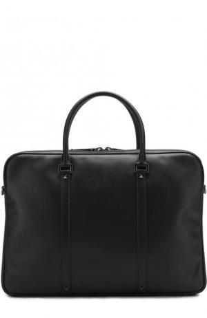 Кожаная сумка для ноутбука  Garavani с плечевым ремнем Valentino. Цвет: черный