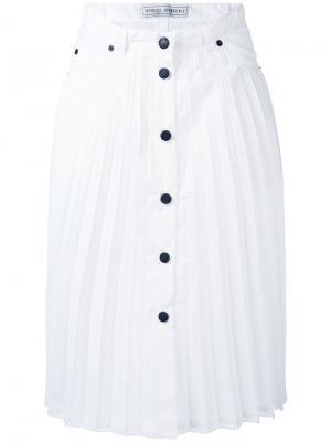 Плиссированная юбка на пуговицах Veronique Branquinho. Цвет: белый