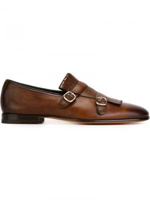 Туфли-монки с бахромой Santoni. Цвет: коричневый