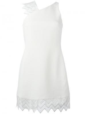Платье с кружевным подолом David Koma. Цвет: белый