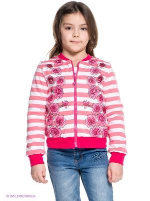 Кофта PELICAN. Цвет: розовый, белый, малиновый