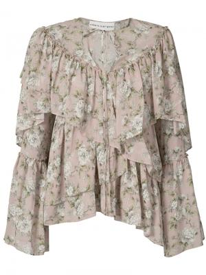 Блуза с рюшами и цветочным узором Robert Rodriguez. Цвет: розовый и фиолетовый