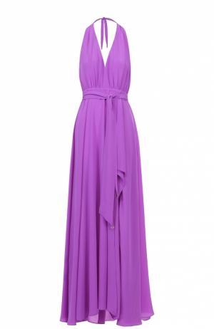 Шелковое платье-макси с высоким разрезом и открытой спиной Lazul. Цвет: фиолетовый