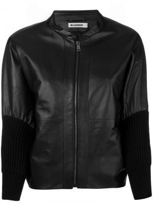 Куртка из кожи с манжетами в рубчик Jil Sander. Цвет: чёрный