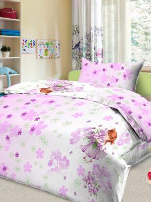 Детский комплект постельного Сонечка, 1,5-спальный, наволочка 50*70, хлопок Letto. Цвет: розовый, белый