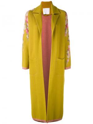 Пальто с цветочной вышивкой Giada Benincasa. Цвет: жёлтый и оранжевый