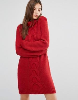 Oneon Платье-джемпер ручной вязки с узором косичка. Цвет: красный