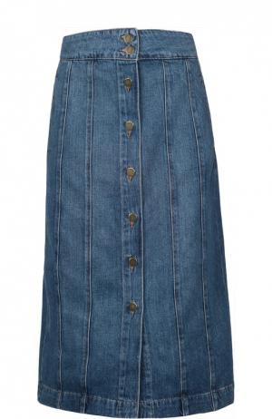 Джинсовая юбка Frame Denim. Цвет: темно-синий