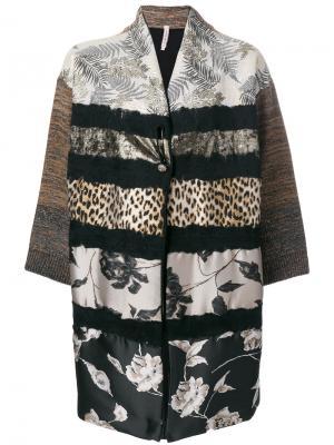 Пальто с контрастным узором Antonio Marras. Цвет: коричневый