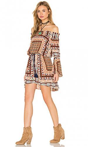 Короткое платье loga Cleobella. Цвет: коньяк