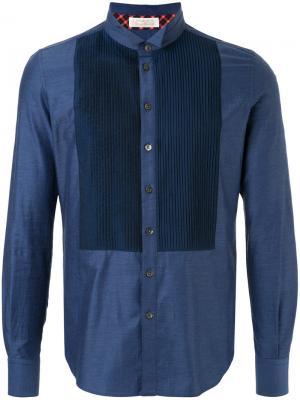 Джинсовая рубашка с вышивкой Education From Youngmachines. Цвет: синий