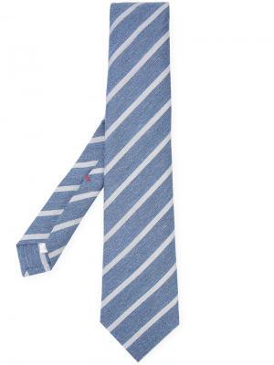 Классический галстук в полоску Isaia. Цвет: синий