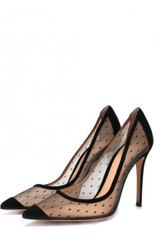 Полупрозрачные туфли Gianvito 105 на шпильке Rossi. Цвет: черный