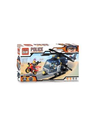 Конструктор Вертолет Полиция с фигуркой, 157 дет. ENLIGHTEN. Цвет: синий, красный, желтый, белый, черный