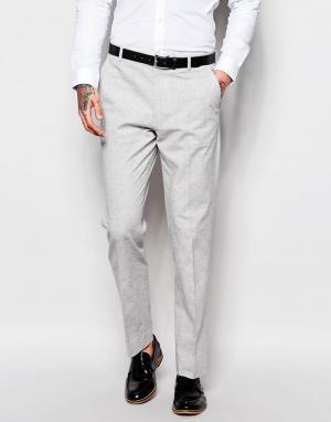 ASOS Серые узкие брюки в крапинку. Цвет: серый