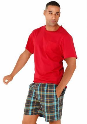 Пижама с шортами s.Oliver. Цвет: красный/в клетку