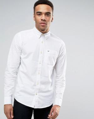 Hollister Белая эластичная поплиновая рубашка узкого кроя. Цвет: белый
