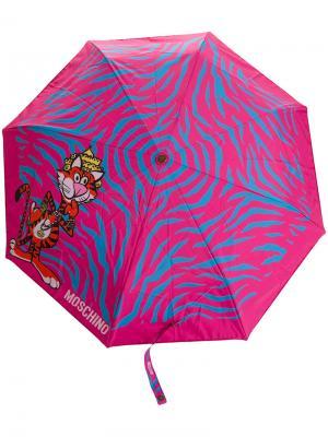 Зонт с принтом животных Moschino. Цвет: розовый и фиолетовый