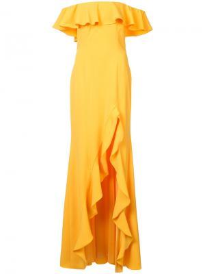 Вечернее платье с открытыми плечами и оборками Jay Godfrey. Цвет: жёлтый и оранжевый