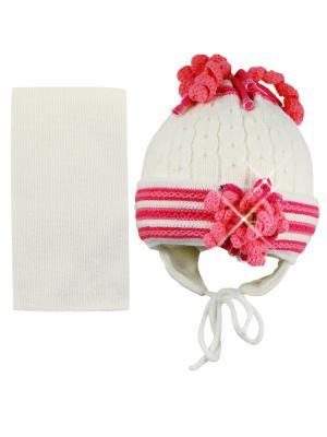 Шапка и шарф Grans. Цвет: кремовый, малиновый