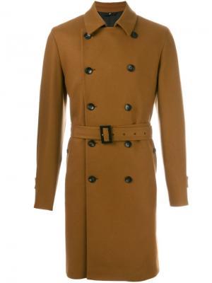 Двубортное пальто Hevo. Цвет: коричневый