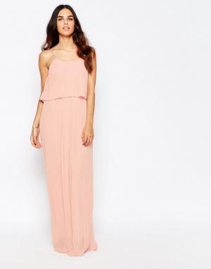 Club L Плиссированное платье макси с накладкой. Цвет: розовый