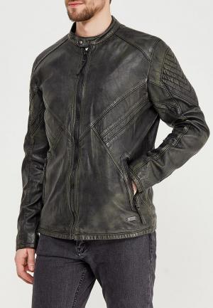 Куртка кожаная Mustang. Цвет: хаки