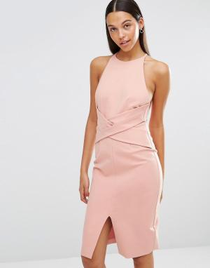 Lavish Alice Платье миди с запахом спереди и глубоким вырезом сзади. Цвет: розовый